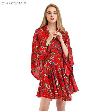 Chicways 2018 Printed Summer Dress Sexy Loose Ruffled Silk Satin Wrap Dress Deep V-Neck Bandage Kimono Sleeve Casual Vestidos