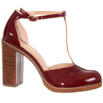 Preppy Pin-Up Oxblood T-Strap Pumps