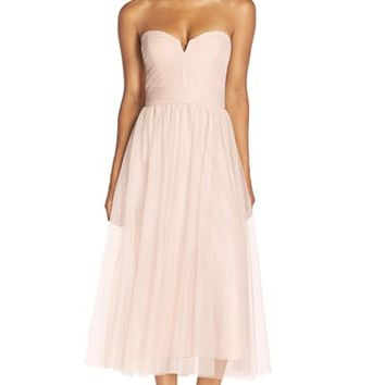 Women's Amsale Pleat Tulle Strapless Tea Length Dress,
