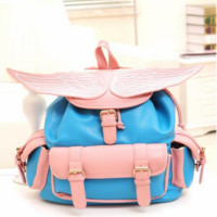 Angel wings embroidery bag backpack