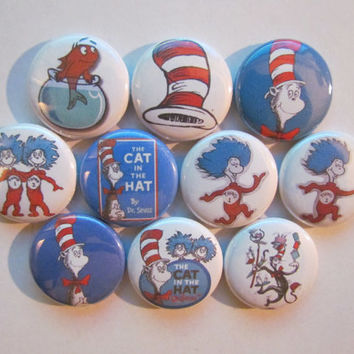 Cat In The Hat Dr. Seuss Thing 1 Thing 2 Pinback Button Badge Pin (pack of 10)
