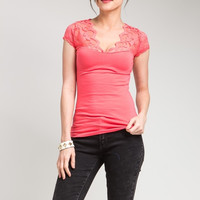 Lace Shoulder Knit Top in Coral