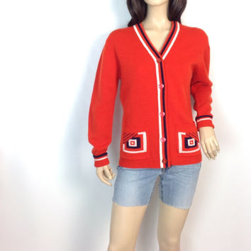 Retro 30s Sweater Long Skinny Cardigan Perfect for Layering Art Deco Nautical Style Design Orangey Red Its Pure Gould Sidney Gould s small