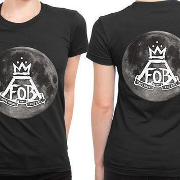 Fall Out Boy Save Rock And Roll Moon Logo 2 Sided Womens T Shirt
