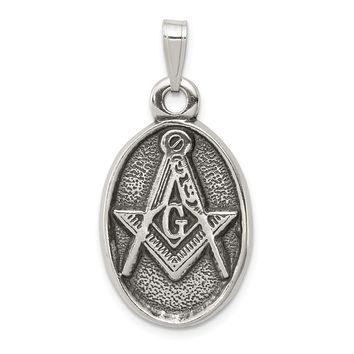 925 Sterling Silver Antiqued Masonic Shaped Pendant
