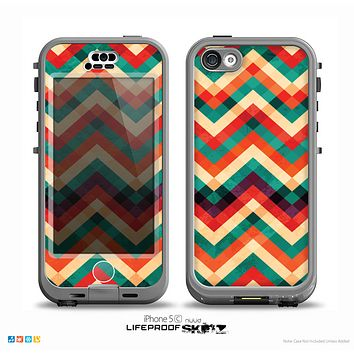 The Abstract Fall Colored Chevron Pattern Skin for the iPhone 5c nüüd LifeProof Case