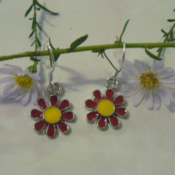 Clearance Tiny Red Daisy Flower Dangle Charm Earrings  Colorful Spring Flower Charm