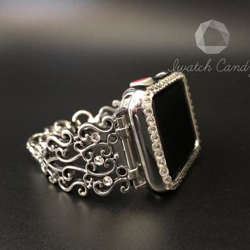 Apple Watch Band Cuff Bangle Only 38mm/40mm 42mm/44mm Series 1,2,3,4 Womens Silver Rhinestone Diamond Filigree Crystal and Bling Smart Watch