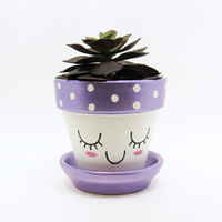 Succulent Planter, Terracotta Pot, Cute Face Planter, Air Plant Holder, Plant Pot, Flower Pot, Indoor Planter, Purple Planter, Violet Pot