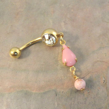 Pink and Gold Belly Button Jewelry