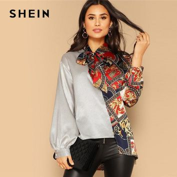 SHEIN Tie Neck Balloon Sleeve Color Block Asymmetric Blouse Stand Collar Long Sleeve Blouse 2019 Women Blouses Ladies Tops