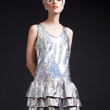 SALE Cosmic Holographic Space Alien Dress with Exposed Metal Zipper