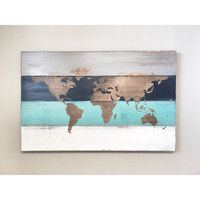 Rustic Wood World Map, Rustic Decor, Farmhouse Decor, Rustic Nursery Decor, Wall Decor, Wooden White World Map - 34 x 20