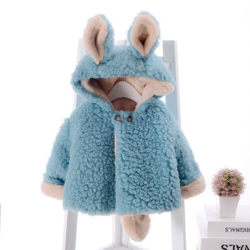 baby girl Hooded Jacket Children 's clothing 2016 autumn and winter Korean boys thicken Cotton princess coat baby plush coat