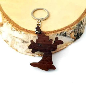 Wooden Wizard Mickey Mouse Keychain, Walnut Wood, Cartoon Keychain, Environmental Friendly Green materials