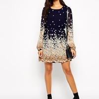 Max C Floral Border Print Dress with Long Sleeves at asos.com
