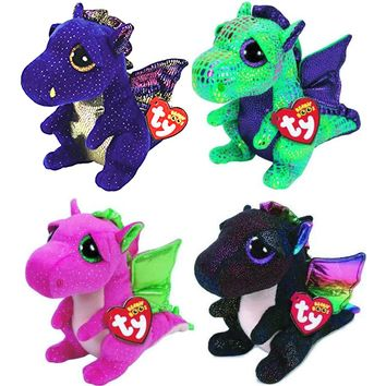 "Ty Beanie Boos 6""15cm 4pcs Dragon Set Drala Saffire Cinder Anora Plush Regular Stuffed Animal Collectible Soft Doll Toy"