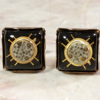 Vintage Cufflinks Black and Gold Cufflinks Microchip Design Techie Techno For the Tech Guy or Gal Engineer Gift Fun Great Looking Cufflinks!
