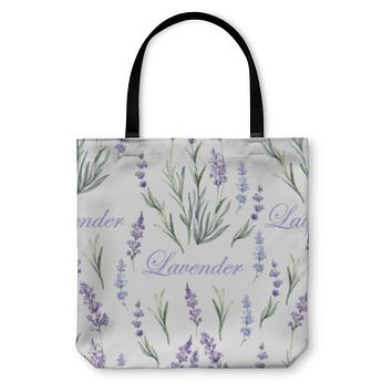 Tote Bag, Watercolor Lavender Botanical Pattern