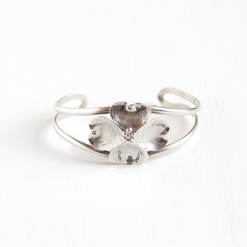 Vintage Sterling Silver Dogwood Bracelet - Retro 1960s Flower Blossom Petals Berries Floral Embossed Statement Cuff Hallmarked NYE Jewelry