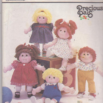 """18"""" soft sculpture Precious Pals boy or girl doll pattern with dress pinafore bloomers pants romper top Simplicity 6999 CUT and COMPLETE"""