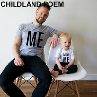 summer 2016 family matching outfits letter me mini me father and son clothes cotton family look T- shirt family matching clothes