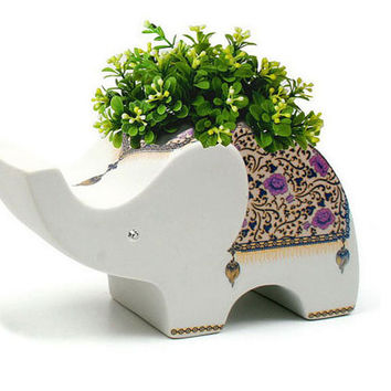 225 & Elephant Flowerpot Floral Pot Plant Holder Elephant Planter Ceramic Planter Pot Elephant Pot Wedding Decor Made In Thailand From Thailand