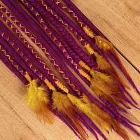 Wool Dreads, 8 DE purple Dreadlocks, yellow feathers, india, festival dreads, boho accessories