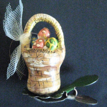 Primitive Folk Art Miniature EASTER BASKET Ornament-Set/2 on Vintage Candle Clip in Hand-Painted Box-Original Handcrafted Design