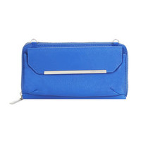 Blue BCBG Tricia Pebbled Leather Crossbody Wallet