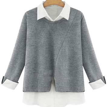 Grey Contrast Collar Blouse