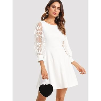 Embroidered Mesh Bishop Sleeve Fit & Flare Dress