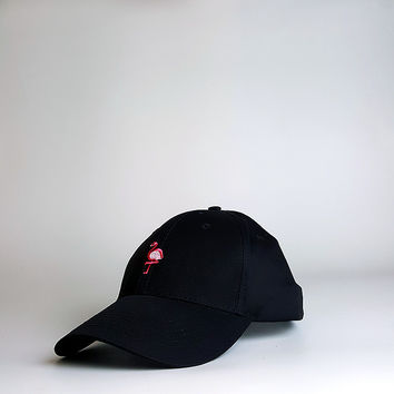 Black Flamingo Embroidered Baseball embroidered cap Hat