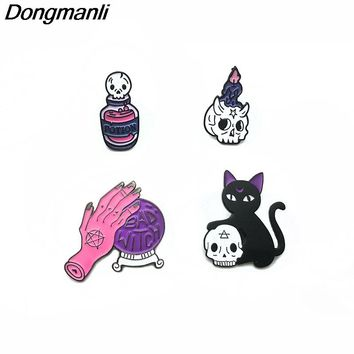 P2806 Dongmanli Magic Crystal ball black Cat Enamel Pins and Brooches for Women Men Lapel pin backpack bags badge jacket