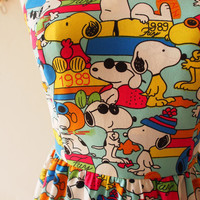 Snoopy n Friends in Blue Cute SunDress Kawaii Halter Dress Sweetheart Bust Line Summer Dress Retro Vintage Bridesmaid Dress, custom
