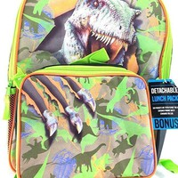 New Boys Jurassic World 16in Backpack & Detachable Lunch Box T-Rex & Raptors