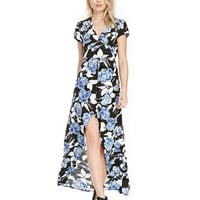 Blue Floral Print Short Sleeve Wrap Around Maxi Dress