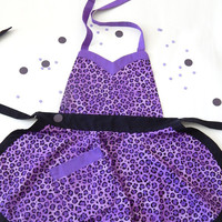 Passion Leopard Kid's Apron Purple Apron Full Apron for Children Animal Print Cute Kitchen Apron Quality Handmade Aprons