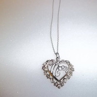 "Estate Sterling Silver Mom Heart Necklace with 18"" Necklace, Marked 925 - Great Gift!"
