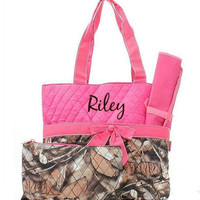 Personalized Natural Camo Quilted 3pc Diaper Bag - Pink