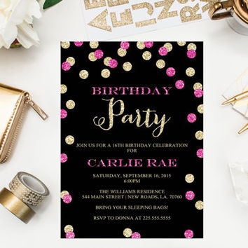 Gold Glitter Birthday Invitations Hot Pink Glitter Confetti Printable Birthday Party Invitations Sixteenth Birthday Invitations