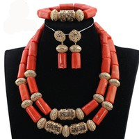 Latest Coral and Gold Traditional African Beads Jewelry Sets