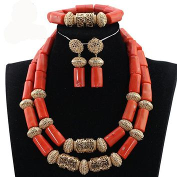 Coral and Gold Traditional African Beads Jewelry Sets