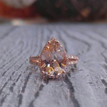 Morganite Engagement Ring 11 x 8mm, 2.5ct Pear Cut in 14K Rose Gold Diamond Halo setting