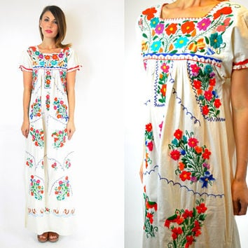 mexican OAXACAN ethnic hippie EMBROIDERED floral draped boho CAFTAN maxi dress, extra small-medium