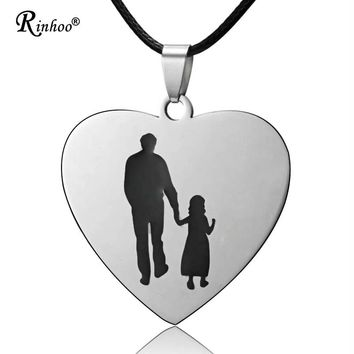 Charm Stainless Steel Engraved Letters Dad Child Heart Love Necklace Pandant Rope Chain Jewelry For Men Baby Father's Day Gift