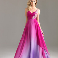 Fuchsia Ombre Chiffon Embellished One Shoulder Sweetheart Prom Dress - Unique Vintage - Homecoming Dresses, Pinup & Prom Dresses.