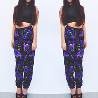 Purple Floral Harem Pants