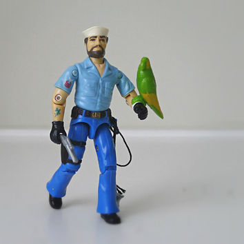 Vintage GI Joe Figure, Shipwreck with Parrot, 1985 Hasbro - action figure, nautical, pirate, sailor, military, navy, retro, toy
