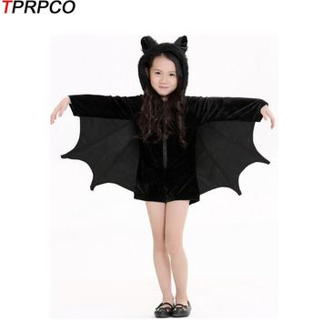 TPRPCO Child Animal Cosplay Cute Bat Costume Kids Halloween Costumes Girls Black Zipper Jumpsuit Connect Wings Batman NL168